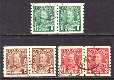 Canada #228-230, 1935 Kgv Coil Pair Set/3, Vf, Used