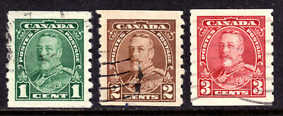 Canada #228-230, 1935 Kgv Coil Set/3, Vf, Used