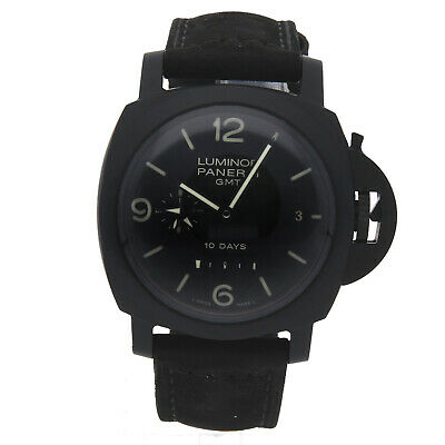 Panerai Luminor 1950 10-Days GMT Ceramica Auto 44mm Strap Mens Watch PAM 335