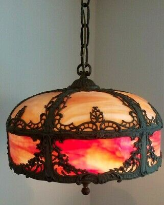 MILLER / ROYAL ART GLASS CO Art Nouveau Orange Red Glass Ceiling Slag Swag Lamp