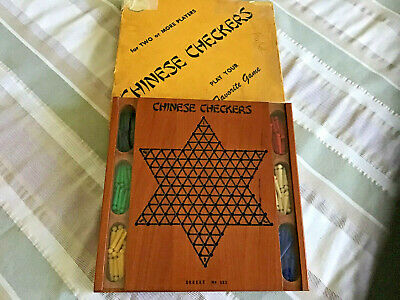 Drueke~Chinese Checkers~Wooden Board Game~Plastic Pegs~#563~MADE IN USA~In Box