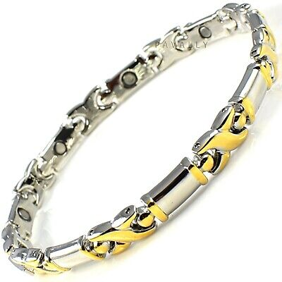 MAGNETIC BRACELET pain relief carpal tunnel arthritis Ladies Womens gold silver