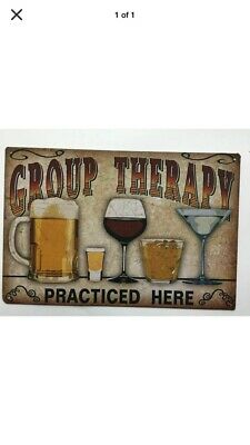 """TIN SIGN  """"Group Therapy"""" Humor Decor Vintage Funny Alcohol Liquor Beer Wine Buy"""