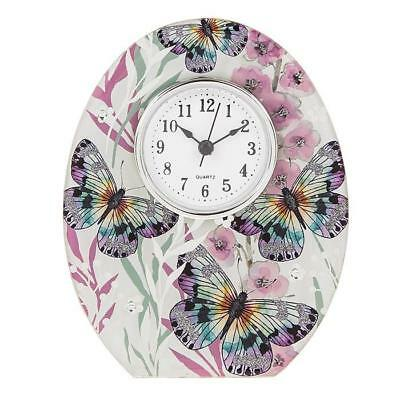 Botanical Holly Hock Butterfly Colourful Butterfly Clock New Boxed 285576