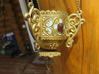 Russian, Lamp for Icon,Lampada Orthodox Antique old bronze  with a glass m