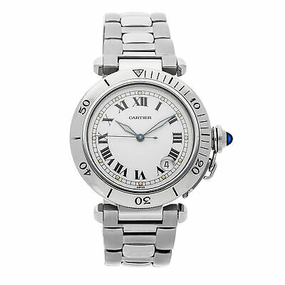 Cartier Pasha Diver Steel Auto 38mm White Dial Bracelet Mens Watch W31005H3