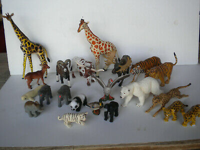 Lot of (21) Hard Plastic Animal Toy Figures(1 Schleich Steer)