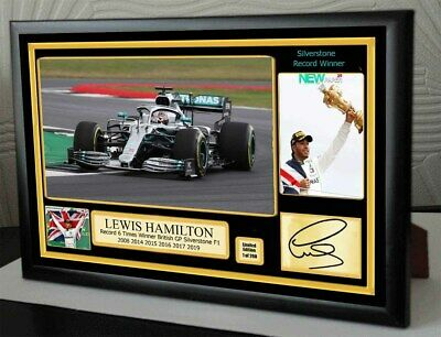 Lewis Hamilton F1 Mercedes 6 Times Silverstone Wins Framed Canvas Print Signed