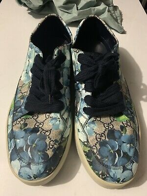a87f5a9a9 GUCCI SUPREME GG Canvas Bloom Print Blue Flower Slip On Sneakers ...