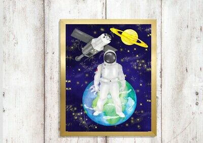 space print PICTURE rocket astronaut planets WALL ART A4  unframed 2 bedroom 1