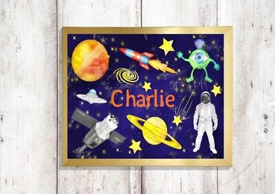 personalised space print PICTURE rocket astronaut planets A4  unframed 2 bedroom