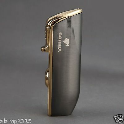 Cohiba Chrome Metal Wind-Proof 3 Torch Jet Flame Cigar Cigarette Lighter W/Punch