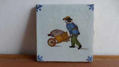 Antique polychrome Dutch Delft tile Ancien carreau polychrome Delft.peddler.  2