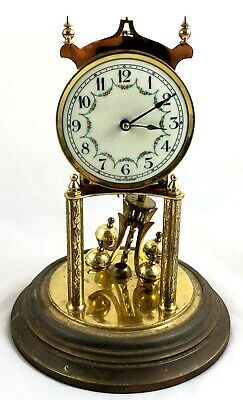 Stunning Kieninger & Obergfell German Anniversary Clock With Glass Dome