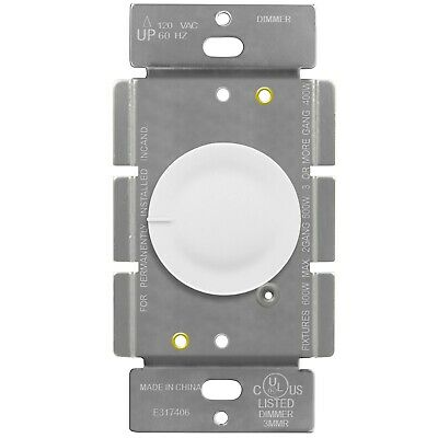 Rotary Dimmer Single Pole Lighted Switch 120VAC 60 Hz Incandescent 600W White