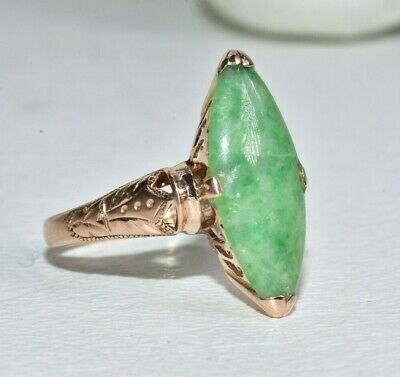 Antique Chinese Victorian 18K Gold Marquise Chrysoprase Ring Signed
