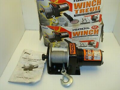 Bada Dw2 12V Dc 1500 Lb Power In/Out Electric Winch 49 Ft Cable With Remote Nnb