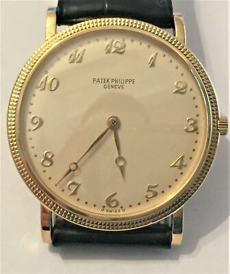 Mens Patek Philippe Calatrava Ref 3520 18k Yellow Gold Watch w/ Rare Arabic Dial
