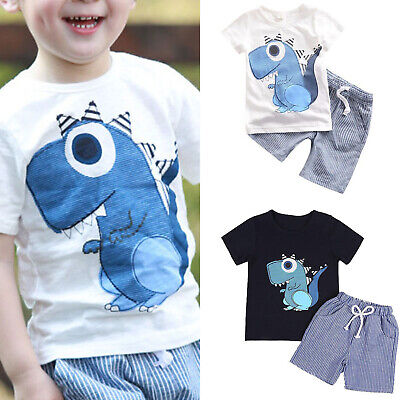Kids Boys Summer Short Sleeve T-shirt Tops Tee + Shorts Outfits Set Clothes 2-7Y