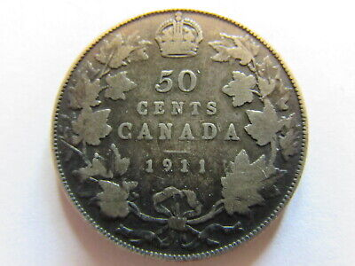 1911 Canada Silver 50 Cent Coin Wreath Crowned Bust Crown 1 Yr Type KM #19