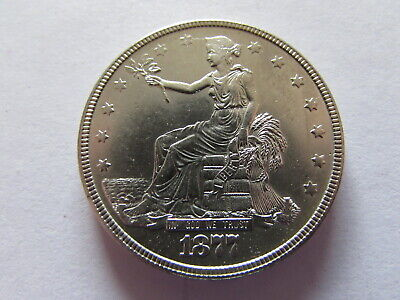 1877 Trade Dollar Silver $1 Coin AU MS Slider US Silver Trade Dollar