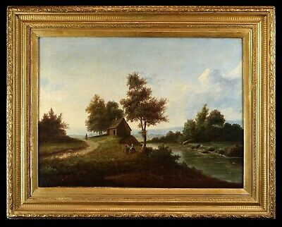 Large 19th Century English School Oil Painting   Riverside Country Landscape