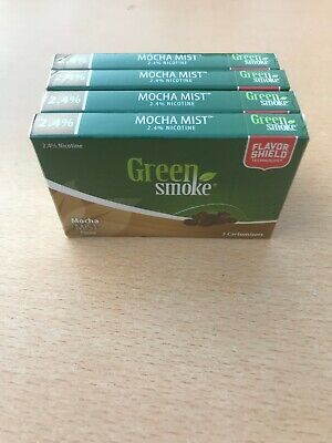 Mocha Mist Flavour 2.4% 4 x Packs of 5 =(20) Cartomizer Cartridges Green Smoke