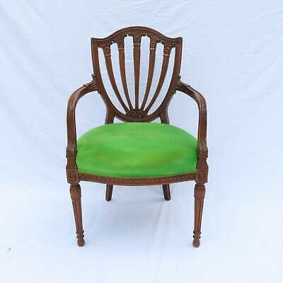 Antique Shield Back Carved Mahogany Armchair French, Early 20th Century Fine