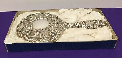 Solid Silver Dressing Table Hand Mirror Birm 1983 Boxed Broadway Silversmiths