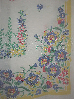 vintage 30s 40s 50s OOAK dotted Swiss BACHELORS' BUTTONS floral tablecloth