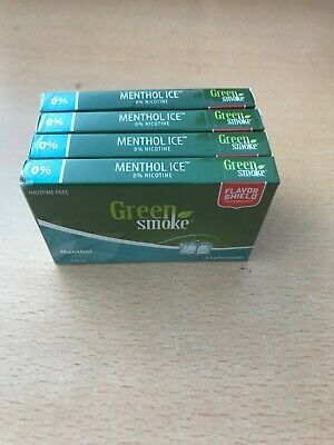 Menthol Ice Flavour 0% 4 x Packs of 5 =(20) Cartomizer Cartridges Green Smoke