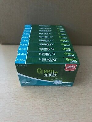 Menthol Ice Flavour 0.6% 10 x Packs of 5 =(50) Cartomizer Cartridges Green Smoke