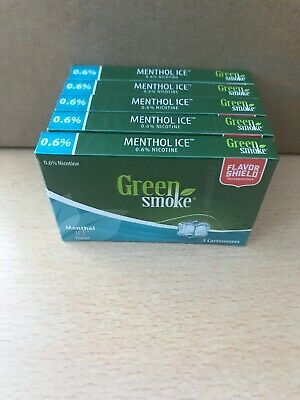 Menthol Ice Flavour 0.6 % 4 x Packs of 5 =(20) Cartomizer Cartridges Green Smoke