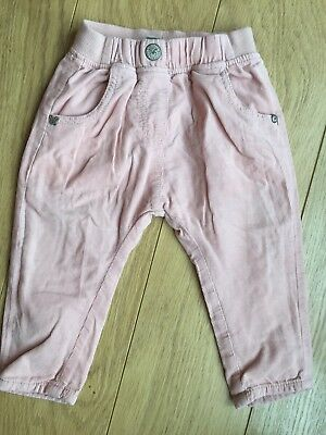 Next Baby Girl Blush Pink Cord Oull On Trousers W/ Cotton Lining 6-9 Months