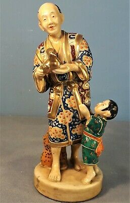 Vintage/Antique Japanese Satsuma Figure of Old Man with Child