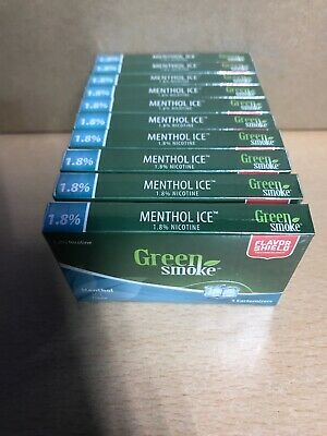 Menthol Ice Flavour 1.8% 10 x Packs of 5 =(50) Cartomizer Cartridges Green Smoke