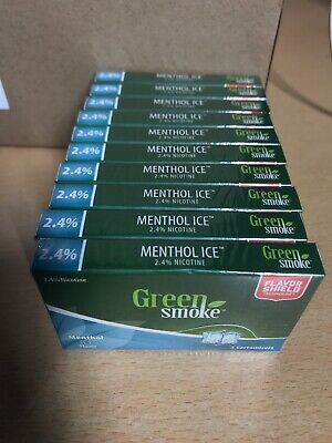 Menthol Ice Flavour 2.4% 10 x Packs of 5 =(50) Cartomizer Cartridges Green Smoke