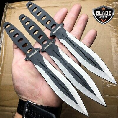 "3 Pc 8"" Ninja Tactical Combat Naruto Kunai Throwing Knife Set w/ Sheath -M"