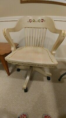 Painted Vintage Swivel Oak Adjustable Desk Chair