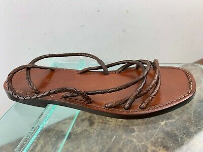 Cole Haan Womens Deandra Gladiator Slip On Open Toe Strappy Flat Sandals Shoes