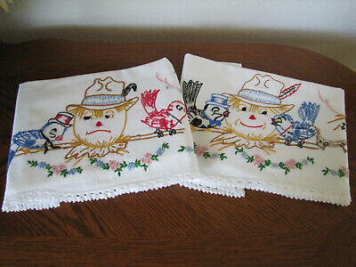 Vintage Pair of Pillowcases Embroidered & Crocheted Bluebirds & Scare Crows Wow