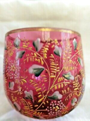 Antique Art Nouveau Art Glass Karlsbad German Moser Posy Nosegay Cranberry Vase