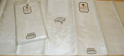 "Vtg SIP Erinore Pure Irish Linen Double Damask Tablecloth & 12 Napkins 22"" DS36"