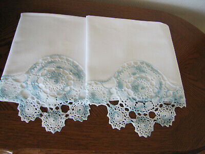 Vintage Pair Of Pillowcases White & Fancy Robins Egg Blue Crocheted Trim Work