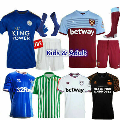 19/20 New Football Kits Kids Boys Soccer Jersey Strips Team Custom Soccer Outfit