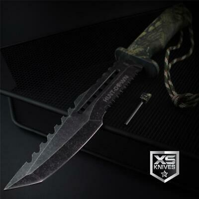 Tactical STONEWASHED Combat CAMO Tanto Survival FIXED BLADE Hunting Knife 12""