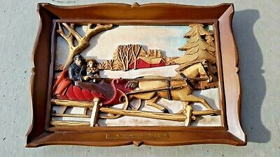 Syroco Vintage Mid Century Wall Hanging Picture Currier Ives Scene A Winter Ride