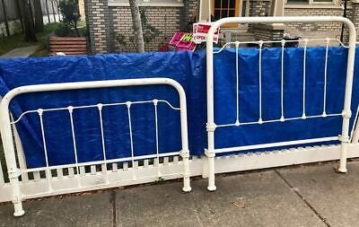 ***** Antique IRON BED Headboard & Footboard - FULL SIZE