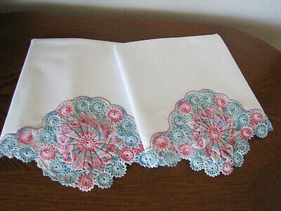Vintage Pair Of Pillowcases White & Fancy Pink & Blue Crocheted Trim Work Wow