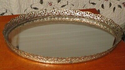 Vintage Vanity Boudoir Mirrored Tray Filigree Edge